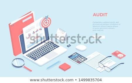 Rachunkowości laptop ekranu 3D lądowanie Zdjęcia stock © tashatuvango