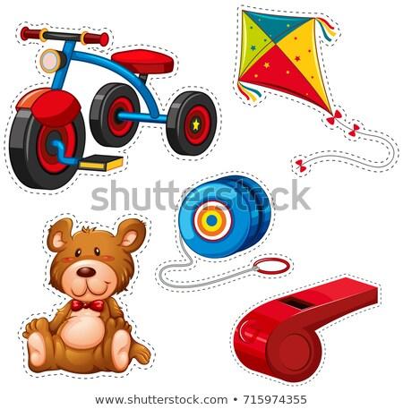 Etiket dizayn üç tekerlekli bisiklet diğer oyuncaklar örnek Stok fotoğraf © bluering