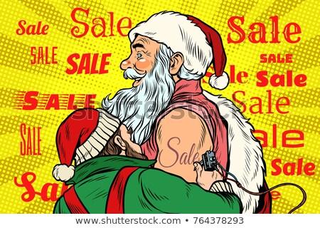 Verkoop elf kerstman tattoo pop art retro Stockfoto © studiostoks