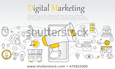 Digitális marketing firka terv ikonok felirat Stock fotó © tashatuvango