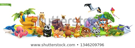 Giraffe and turtle in the park Stock photo © bluering