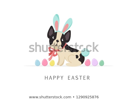 happy easter card with funny cats and eggs stock photo © ddraw