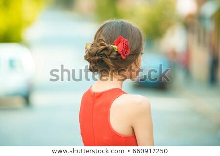 fiatal · modell · rózsák · kabaré · arc · szeretet - stock fotó © iordani