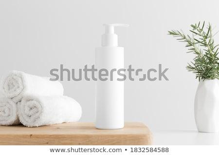 shampoo · fles · geïsoleerd · witte · haren · Blauw - stockfoto © oleksandro