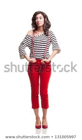 Kurzfristig pants Ziehen Haar weiß Stock foto © feedough