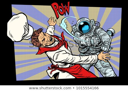 space food. Astronaut fight with the chef Stock photo © studiostoks