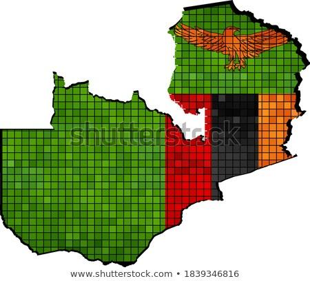 Stock fotó: Tér · grunge · zászló · Zambia · 3d · illusztráció · retro