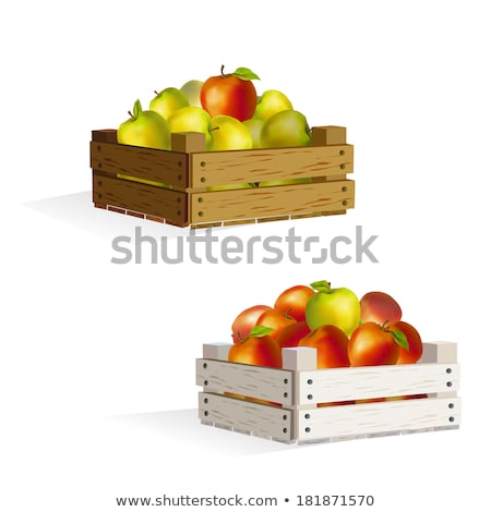 wooden box of apples vector illustration Stock photo © konturvid