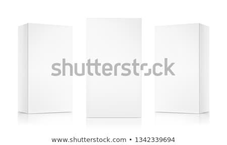 Doboz három gumióvszer fehér bent fa asztal Stock fotó © magraphics
