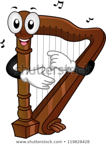 музыку сведению талисман арфа иллюстрация черный Сток-фото © lenm