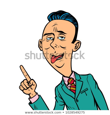 ridiculous funny weird businessman points finger gesture stock photo © rogistok