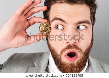 любопытный бизнесмен костюм bitcoin Сток-фото © deandrobot