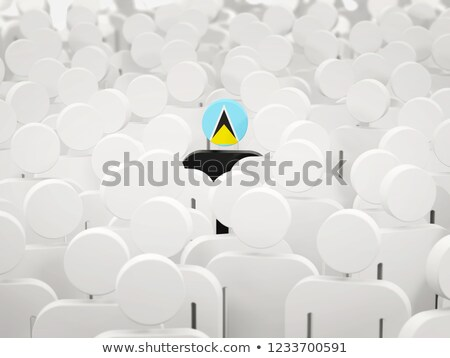 Man with flag of saint lucia in a crowd Stock photo © MikhailMishchenko