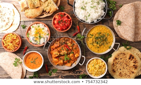 インド · 食事 · コメ · カレー · レストラン · 表 - ストックフォト © m-studio