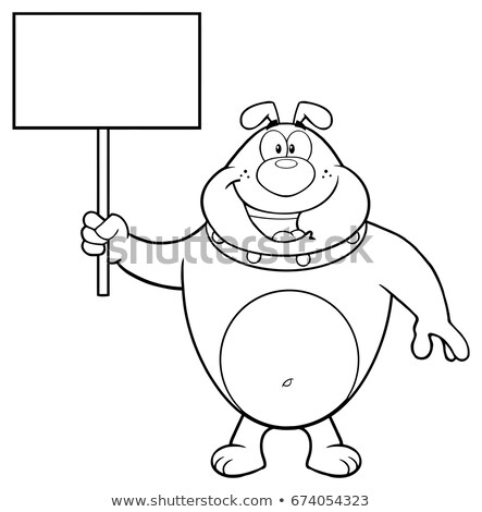 black and white happy bulldog cartoon mascot character holding a blank sign stock photo © hittoon