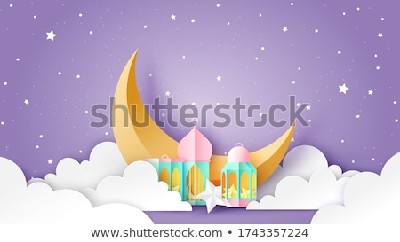 beautiful eid mubarak night scene with moon Stock photo © SArts