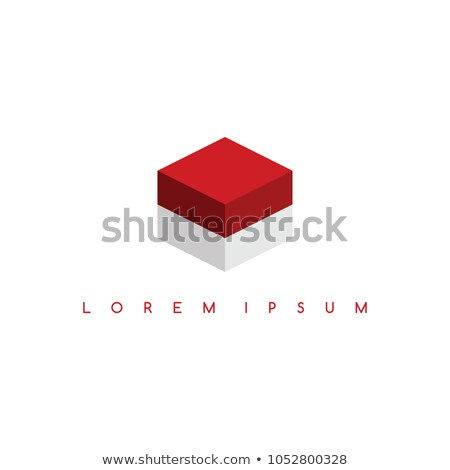indonesia flag isometric square box sign logo logotype vector art Stock photo © vector1st