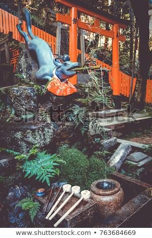tilki · heykel · kyoto · Japonya · kırmızı - stok fotoğraf © daboost