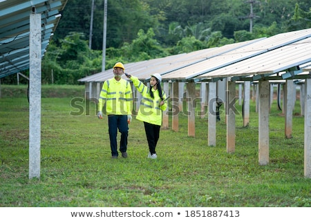 Panneau solaire à l'extérieur herbe photovoltaïque sourire propre Photo stock © adamr