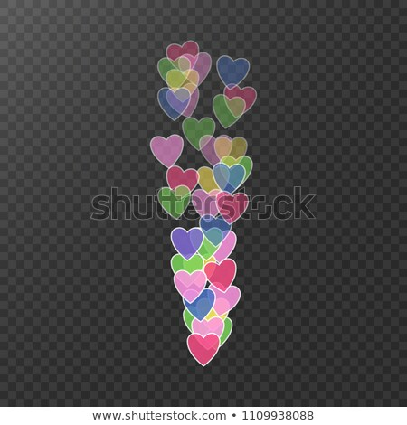 Stock photo: Flying hearts. Colorful hearts in move. I like, icon. The level