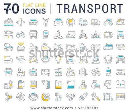 Boats - modern thin line design icons set Stock photo © Decorwithme