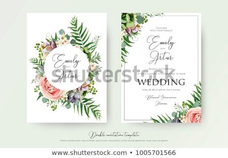 結婚式招待状 ピンク バラ 花輪 ベクトル ストックフォト © TasiPas