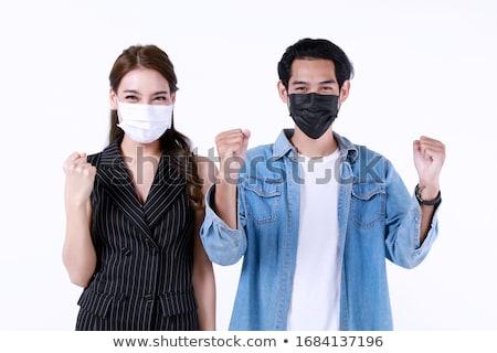 Homem mulher máscaras sujo ar doença Foto stock © studiostoks