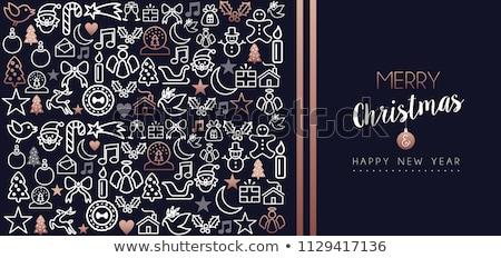 christmas · nieuwjaar · koper · schets · herten · kaart - stockfoto © cienpies