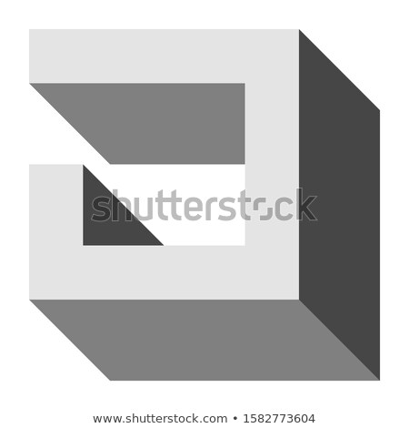 Grey Letter I with Rectangular Shapes Vector Illustration Stock photo © cidepix
