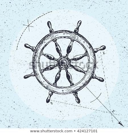Schip stuur schets doodle icon Stockfoto © RAStudio