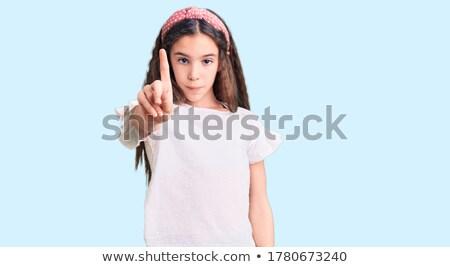 Kid Girl No Point Finger Stock photo © lenm