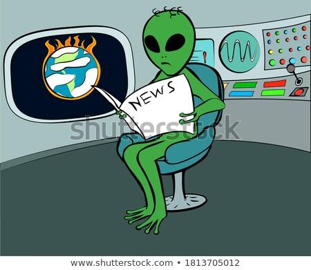 Korkmuş karikatür yabancı ufo örnek bakıyor Stok fotoğraf © cthoman