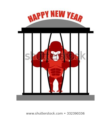 Сток-фото: горилла · бежать · клетке · символ · Новый · год · красный