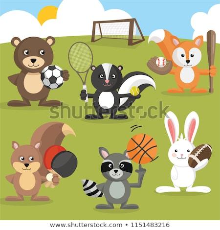 Cartoon skunks baseball ilustracja gry szczęśliwy Zdjęcia stock © cthoman
