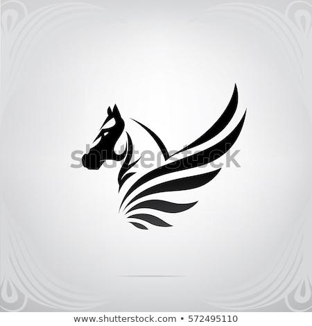 シルエット 神話の 馬 グラフィック 馬 翼 ストックフォト © Krisdog