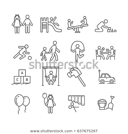 Girl playing in sandbox with toys vector icon Stock photo © robuart