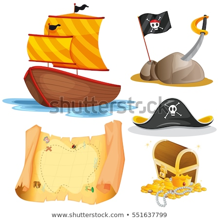 Sailboat and other pirate elements Stock photo © colematt