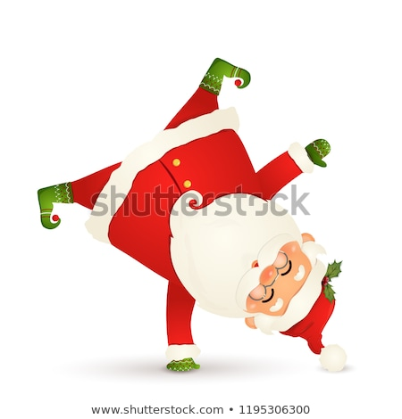 Santa Claus standing on his arm. Upside down. Isolated. Stock photo © ori-artiste