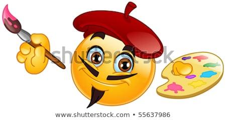 Schilder emoticon penseel palet glimlach Stockfoto © yayayoyo