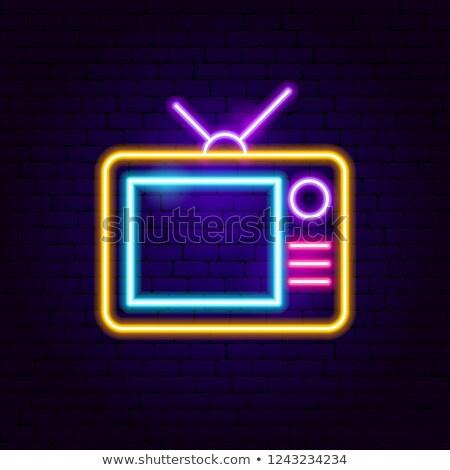 Analoog tv neonreclame film promotie licht Stockfoto © Anna_leni