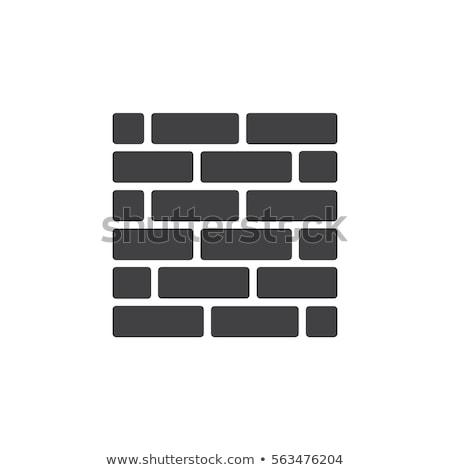 Pared de ladrillo icono pictograma aislado blanco símbolo Foto stock © kyryloff