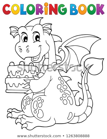 Coloring book dragon holding cake 1 Stock photo © clairev