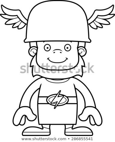 漫画 笑みを浮かべて ヘルメット グラフィック ベクトル ストックフォト © cthoman