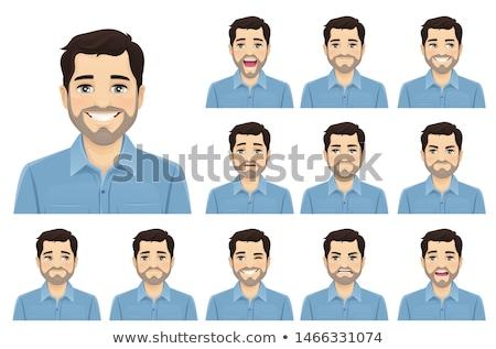 Stock fotó: Szett · férfi · fej · arckifejezés · illusztráció · mosoly