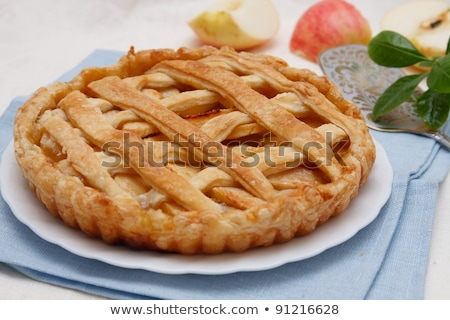Traditional american apple pie served with fresh fruits Stock photo © dash