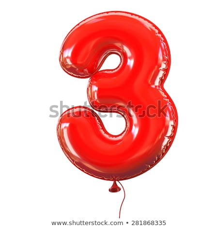 red glossy font number 3 three 3d stock photo © djmilic