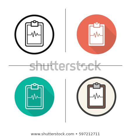 heart rate monitor color icon with shadow on colored circles heartbeat stock photo © imaagio