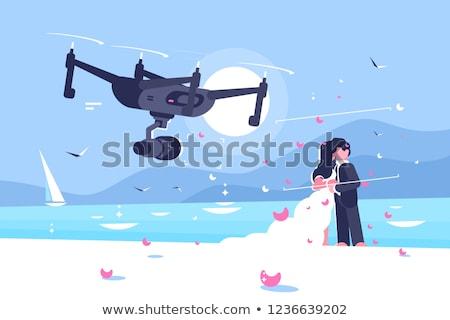 撮影 結婚式 ポスター 飛行 カメラ お祝い ストックフォト © jossdiim