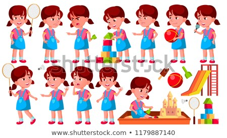 Girl Kindergarten Kid Poses Set Vector. Preschool. Young Person. Cheerful. For Web, Brochure, Poster Stock photo © pikepicture