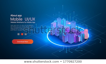 okos · technológia · infrastruktúra · város · ikon · hálózat - stock fotó © rastudio